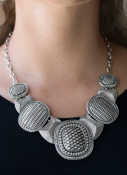 "Paparazzi Accessories - ""Prehistoric Powerhouse"" Silver Paparazzi Geometric Necklace and Earring Set - Necklaces"