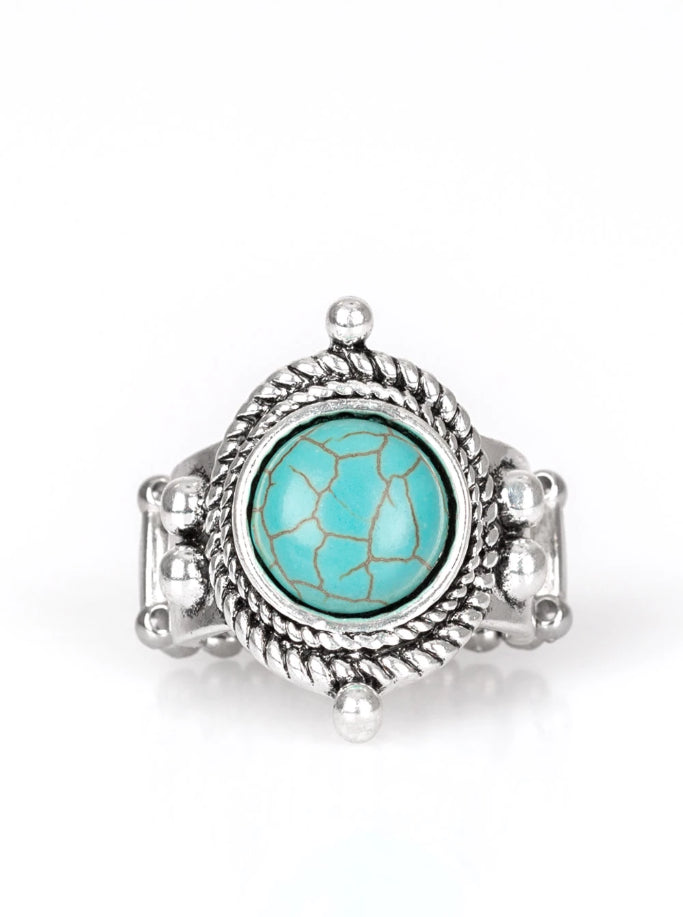 "Paparazzi Accessories - Paparazzi ""Prone To Wander"" Antique Silver Turquoise Ring Fashion Fix March 2019 - Rings"