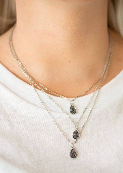 "Paparazzi Accessories - Paparazzi ""Radiant Rainfall"" - Silver Necklace - Necklaces"