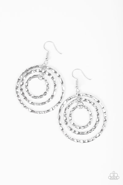 Radical Ripple - Silver Paparazzi Hammered Hoop Earring - Paparazzi Accessories - Earrings - BeeDazzled Jewel Boutique Paparazzi