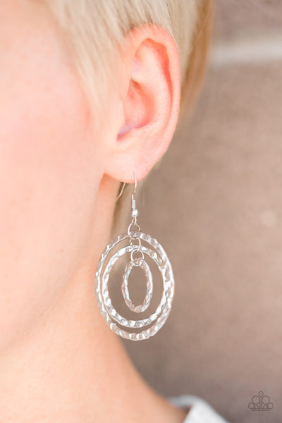 Paparazzi Accessories - Radical Ripple - Silver Paparazzi Hammered Hoop Earring - Earrings
