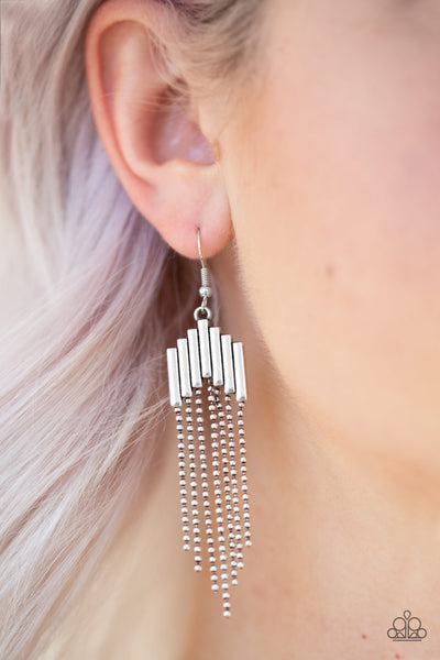Paparazzi Accessories - Paparazzi Radically Retro - Silver Tassel Earring - Earrings