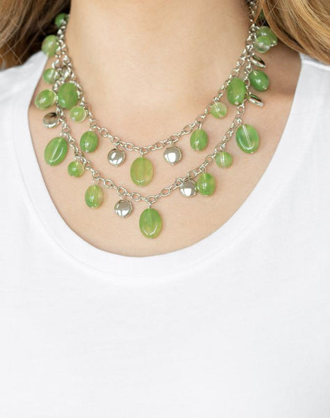 "Paparazzi Accessories - Paparazzi ""Rainbow Shine"" - Green - Short necklace"