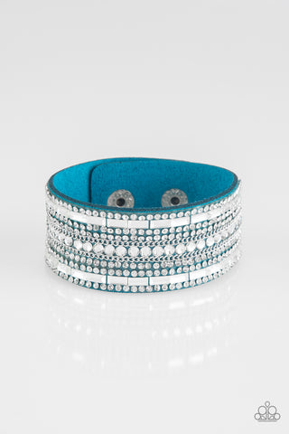 Paparazzi Accessories - Rebel Radiance | Blue Rhinestone | Urban Paparazzi Bracelet - Bracelets