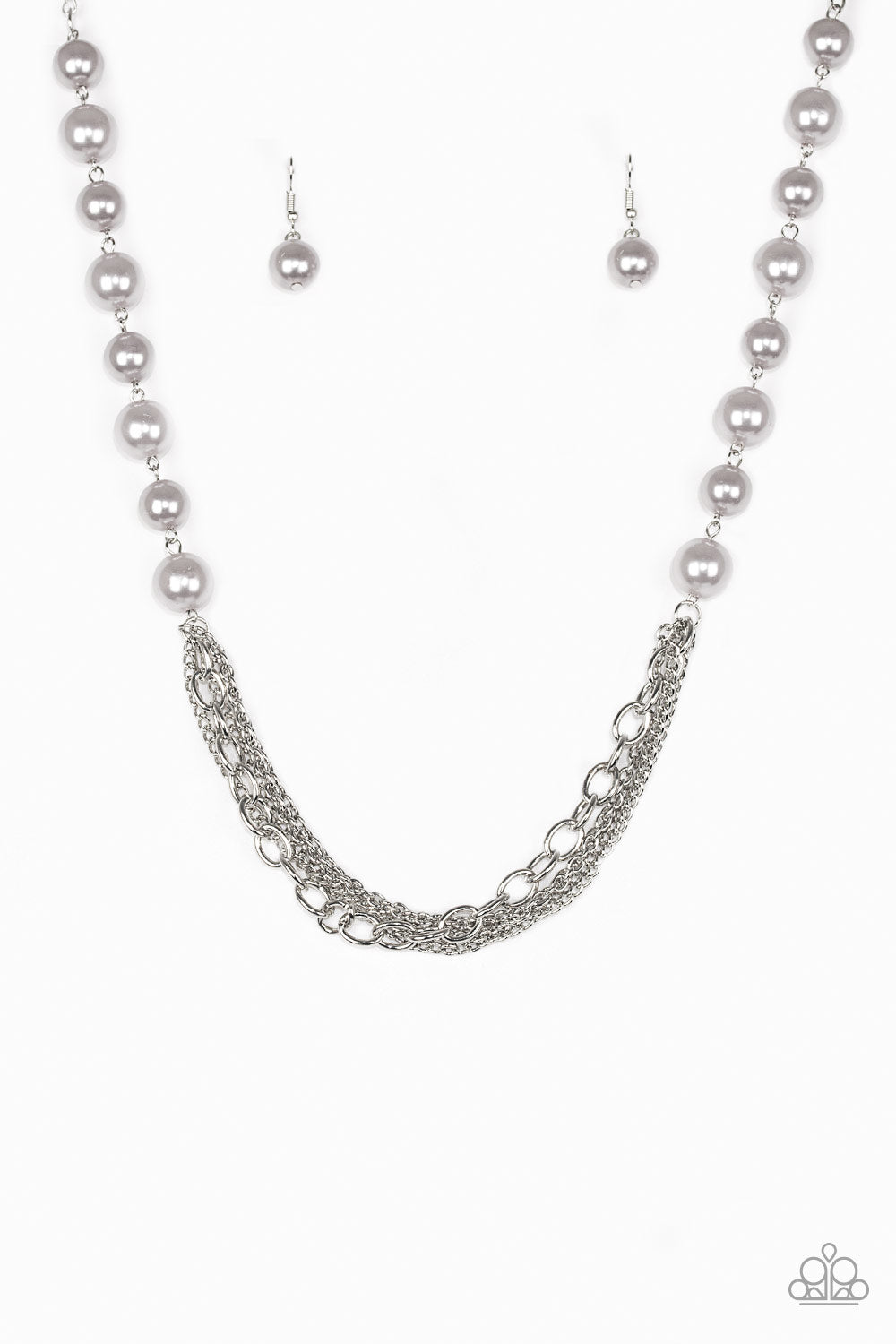Paparazzi Accessories - Paparazzi Necklace - Runaway Bridesmaid - Pearly Silver multi chain - Necklaces