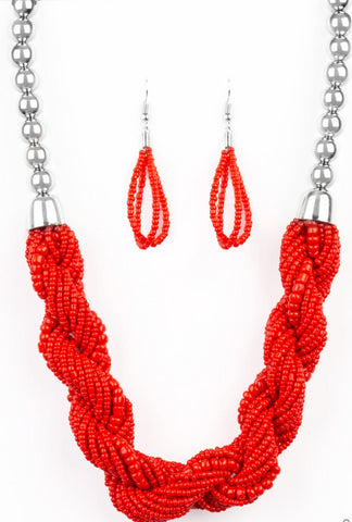 "Paparazzi Accessories - Paparazzi ""Savannah Surfin"" - Red Necklace - Necklaces"