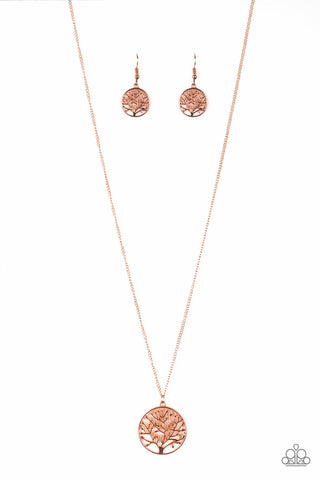 "Paparazzi Accessories - Paparazzi ""Save The Trees"" Shimmery Copper Tree Pendant Necklace and Earring Set - Necklaces"