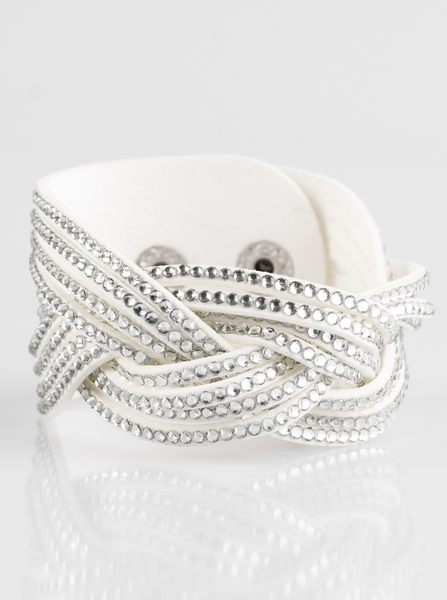 "Paparazzi ""Big City Shimmer"" - White Rhinestone Bracelet"