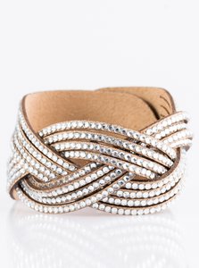 "Paparazzi ""Big City Shimmer"" - Brown White Rhinestone Bracelet"