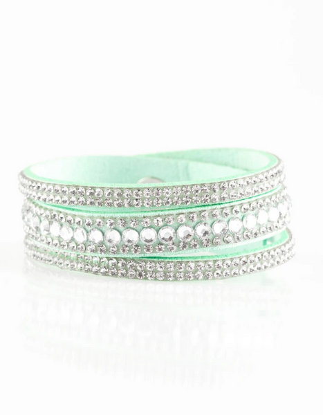 Paparazzi Accessories - Harlem Hustle - Green & White Bracelet