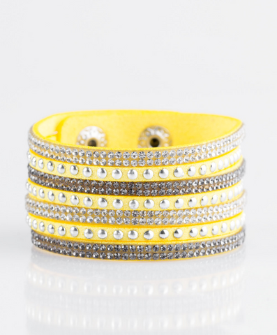 "Paparazzi ""Victory Shine"" - Yellow Bracelet"