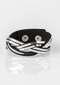 Paparazzi Looking For Trouble - Black - Wrap Bracelet