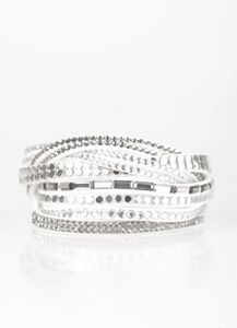 "Paparazzi ""I Came To Slay"" - White Rhinestone - Double Wrap Bracelet"