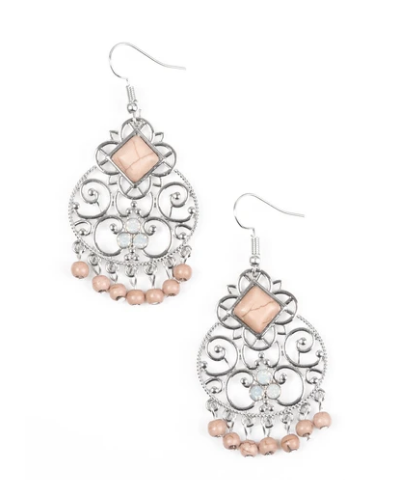 Paparazzi Western Wonder - Brown Stone - Silver Earrings