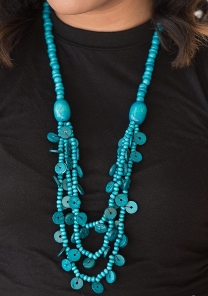 Paparazzi Accessories - Safari Samba | Blue Wooden | Paparazzi Necklace and Earring Set - Necklaces