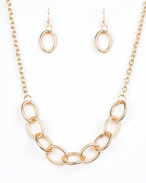Paparazzi Accessories - Boldly Bronx - Gold Paparazzi Necklace - Necklaces