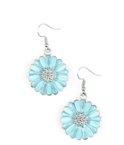 "Paparazzi Accessories - Paparazzi ""Distracted by Daisies"" Blue Earring - Earrings"