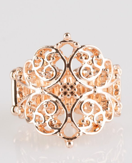 Paparazzi Accessories - Victorian Valor - Rose Gold Ring - Rings
