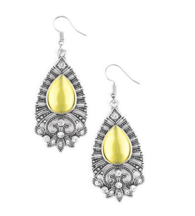 Paparazzi Accessories - Paparazzi Majestically Malibu - Yellow Moonstone - Earrings - Earrings