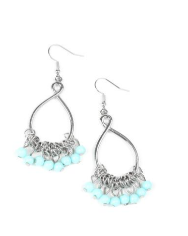 Paparazzi Accessories - Paparazzi Broadway Babe - Blue Shell Beads - Earrings - Trend Blend Fashion Fix Exclusive June 2019 - Earrings