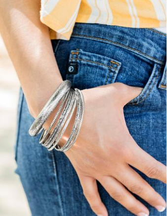 Paparazzi Accessories - Paparazzi Hidden Groves Silver - Set of 7 Bracelets - Trend Blend Fashion Fix Exclusive June 2019 - Bracelets