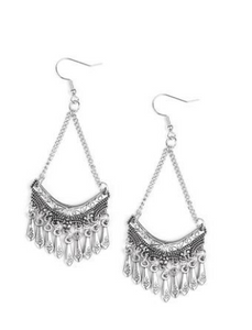 Paparazzi Accessories - Paparazzi In Rouge - Silver Earring - Earrings