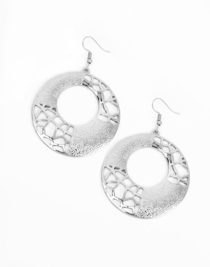 "Paparazzi Accessories - Paparazzi ""Shattered Shimmer"" - Silver - Earrings"