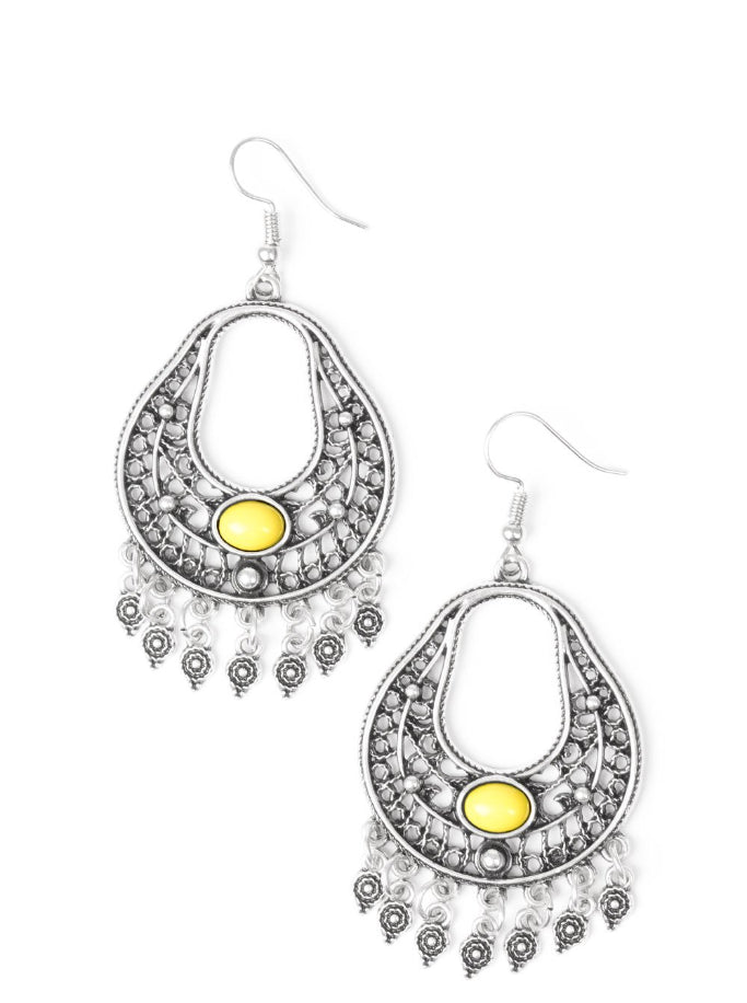 Paparazzi Accessories - Paparazzi Earring - Shoreside Social - Yellow - Earrings