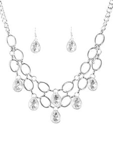 Paparazzi Accessories - Paparazzi Necklace - Show Stopping Shimmer - White Rhinestone - Necklaces