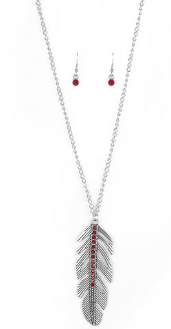 Paparazzi Accessories - Sky Quest - Red Necklace and Earring Set - Necklaces