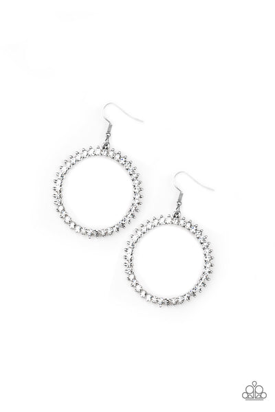 Paparazzi Accessories - Paparazzi - Spark Their Attention - White Rhinestone Silver Earring - Earrings
