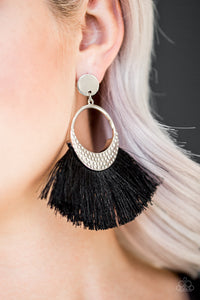 Paparazzi Accessories - Spartan Spirit | Black Tassel Silver Hammered | Paparazzi Earring - Earrings