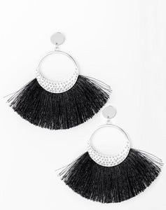 Paparazzi Accessories - Spartan Spirit | Silver Tassel | Silver Hammered Paparazzi Earring - Earrings