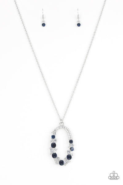 "Paparazzi Accessories - Paparazzi ""Spotlight Social"" Purple White Rhinestone Silver Necklace and Earring Set - Necklaces"