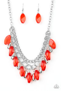 Paparazzi | Spring Daydream | Red Silver Bead Necklace and Earring Set