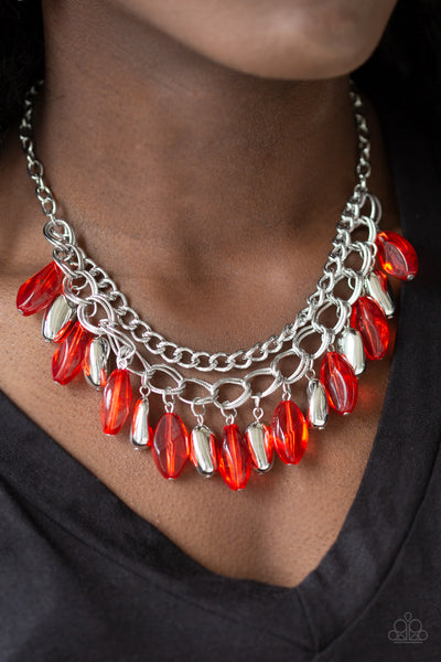Paparazzi Accessories - Paparazzi | Spring Daydream | Red Silver Bead Necklace and Earring Set - Necklaces