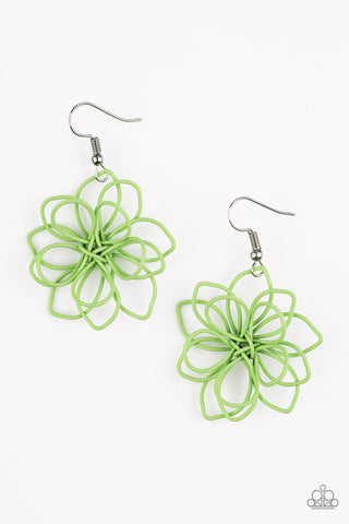 Paparazzi Accessories - Springtime Serenity | Green Petal | Paparazzi Earrings - Earrings