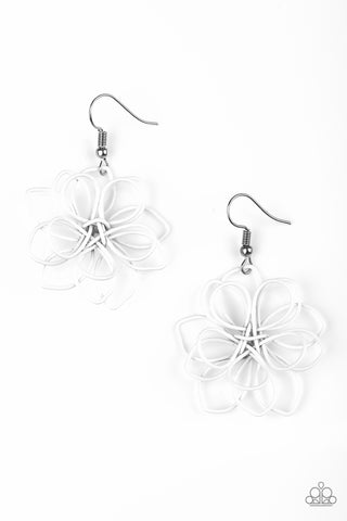 Paparazzi Accessories - Springtime Serenity | White Petal | Paparazzi Earrings - Earrings