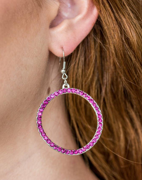 "Paparazzi Accessories - Paparazzi ""Stoppin Traffic"" - Pink Rhinestone Earring - Earrings"