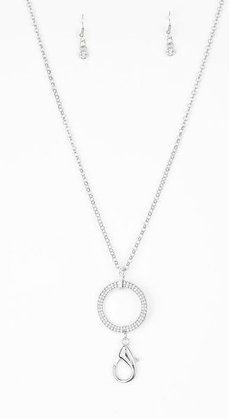"Paparazzi Accessories - Paparazzi ""Straight To the Top"" Silver Rhinestone Hoop Lanyard Necklace and Earring Set - Necklaces"