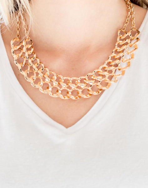 "Paparazzi Accessories - Paparazzi ""Street Meet and Greet"" - Gold - Necklaces"