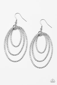 Paparazzi Accessories - Paparazzi Strike Three Silver Hoop Earring - Earrings