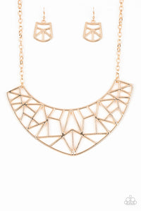 "Paparazzi Accessories - Paparazzi ""Strike While HAUTE"" Gold Shattered Crescent Necklace and Earring Set - Necklaces"