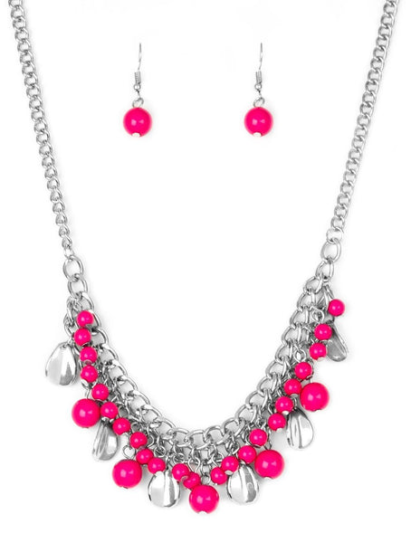 "Paparazzi Accessories - Paparazzi ""Summer Showdown"" Pink Bead Silver Teardrop Necklace and Earring Set - Necklaces"