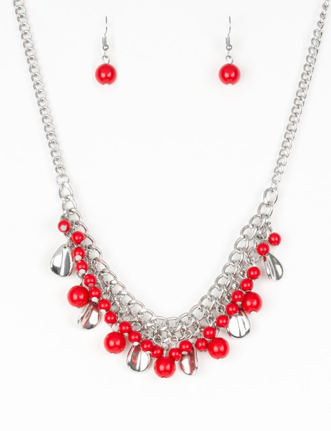"Paparazzi Accessories - Paparazzi ""Summer Showdown"" Red Bead Silver Teardrop Necklace and Earring Set - Necklaces"
