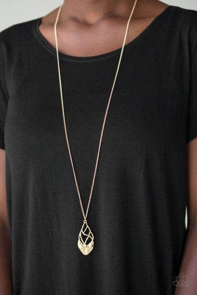Swank Bank | Gold | Paparazzi Necklace and Earring Set