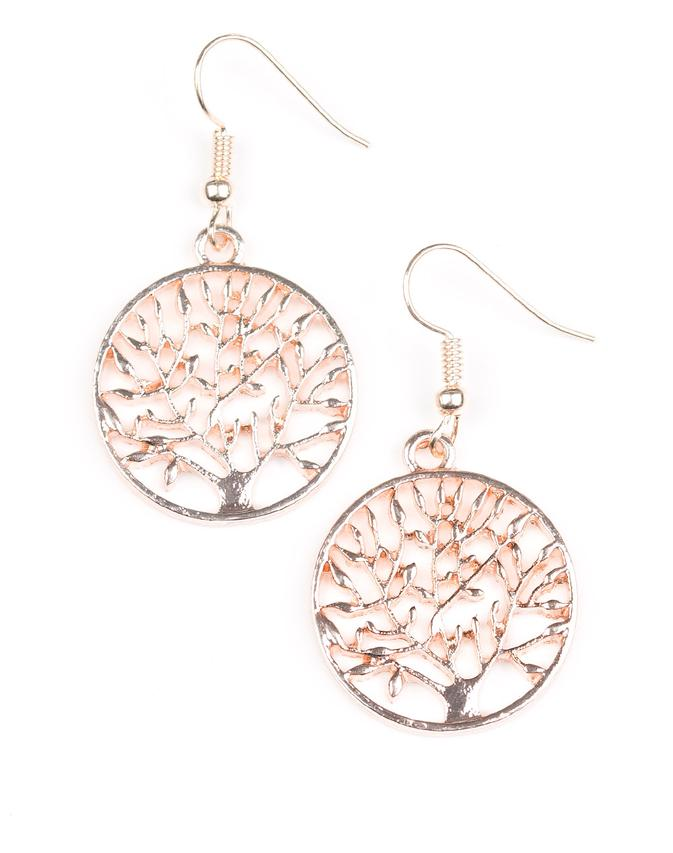 Paparazzi Accessories - Paparazzi Earring - TREE Ring Circus - Rose Gold - Earrings