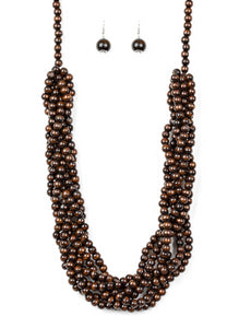 Paparazzi Accessories - Tahiti Tropic Brown Necklace and Earring Set - Necklaces
