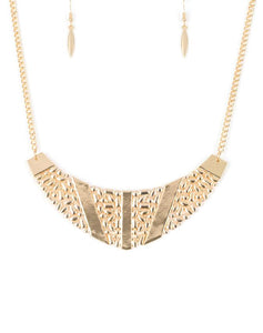 Paparazzi Accessories - Terra Trailbreaker - Gold Necklace and Earring Set - Necklaces