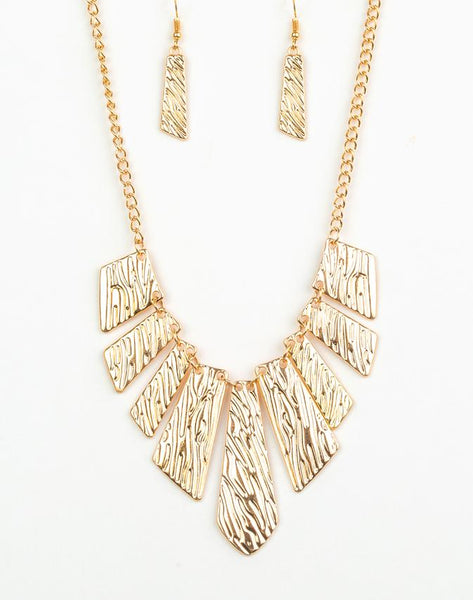 "Paparazzi Accessories - Paparazzi ""Texture Tigress"" - Gold Necklace and Earring Set - Necklaces"